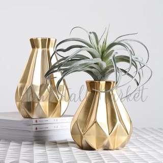 💐YourStalkMarket - Gold Vase Ceramic
