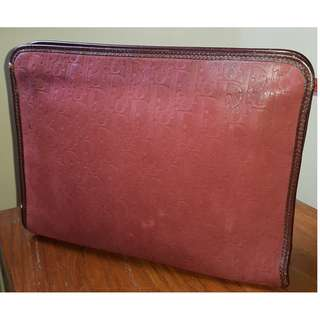 Rare 1980s Vintage Christian Dior Suede Leather Clutch Purse
