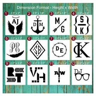 🚚 Personalised Two letter Monograms Vinyl Waterproof Stickers