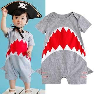 🚚 ✔️STOCK - SHARK GREY BABY SHORT SLEEVES ONESIE UNISEX ROMPER TODDLER BOY/GIRL KIDS CHILDREN CLOTHING