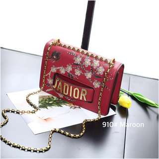 Christian Dior Jardin Japonais Capsule CD J'aDior Flap Bag👜👜👜  ▫Code : 910# ▫Quality : Semi Premium AAA ▫Bag Size : 24x7x15cm ▫Material : Calf Faux Leather - Inside Pu ▫Weight : 0.7kg ▫Ready 1 Colour : Maroon  Reseller Price IDR @150rb✨