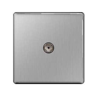 BG, Screwless Flat Plate Single Co-axial TV Socket, Brushed Steel Finish