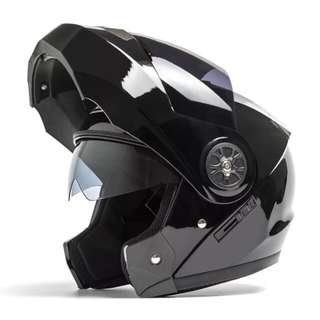 Gloss Black Full Face Flip Up Motorcycle Bike Modular Helmet with Double Inner Lens