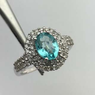 18K白金戒指 1卡36份磷灰石 62份鑽石 18K White gold Ring 1.36ct Apatite 0.62ct Diamond 可議價