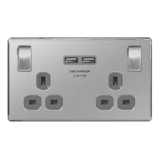 BG, Screwless Flat Plate 13A Double Plug Socket with 2 x USB Charger, Brushed Steel Finish, Grey Inserts