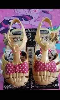 Mini Melissa Aranha s10 size 10 17cm Miss Minnie Mickey Mouse kids ootd fashion shoes authentic auth minimel orig zaxy nike jelly sandals ultragirl mel