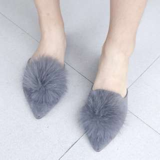 Pompom Mules Grey Selop Pom Pom Abu Suede Slip On Flat Shoes