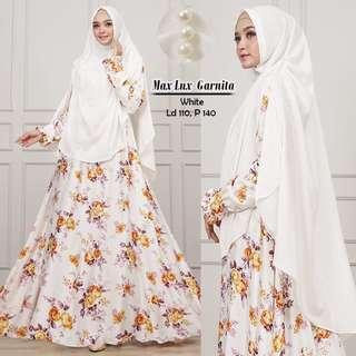 Pre order Garnita ( dress+ tudung) long sleeve Muslimah dress blue white cream grey flower