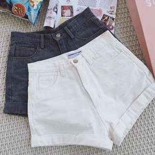 🚚 高腰短褲 白