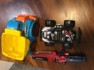 Assorted toys - Gun, Truck and Monster car