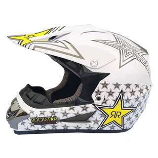 White Rockstar Full Face Motorcycle Helmet Scrambler Motorcross Motocross Scrambler Off Road Dirt Bike