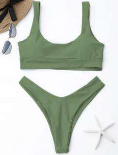 BNWT Zaful - Pea Green Scooped High Cut Bikini