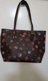 NWT f24372 tote bag brown floral print