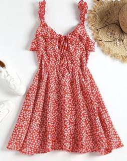 BNWT Zaful- Red Floral Tied Ruffled Mini Dress