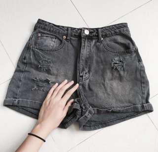 factorie ash grey ripped denim shorts