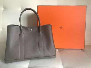 100% New Garden Party 30 Epsom Leather Etain Colour (8F)
