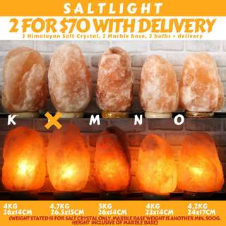 🚚 Authentic Himalayan Salt Lamps PROMO BUNDLE with free delivery! 2@$70 with delivery with marble bases and long lasting bulbs | Cleanse & Purify | Improve Air Quality | Chromotherapy | Combat EMF and radiation | SALTLIGHT