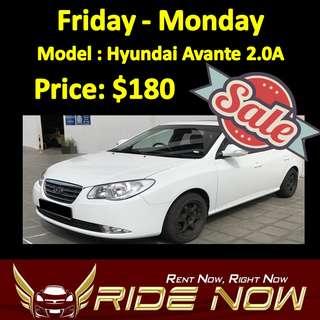 $180 Hyundai Avante 2.0A Weekend SALE