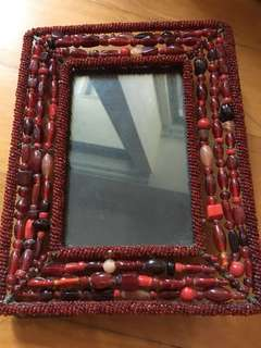Red beaded photo frame (22.5 x 18cm)