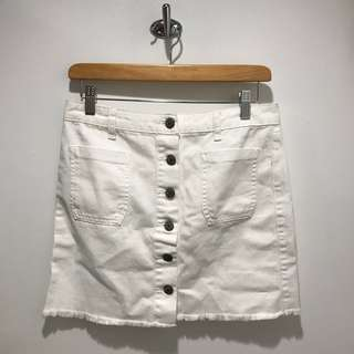 UO white denim button up skirt