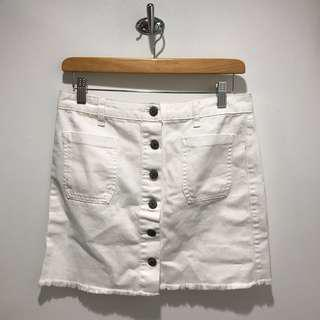 UO white denim button up skirt