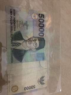 UANG KUNO LAMA 50.000 WR SOEPRATMAN TAHUN 1999