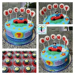 1-Layer Car Theme Fondant Cake for Kiddie Birthday with 40 Cupcakes in Giveaway Containers