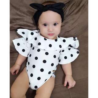 🚚 ✔️STOCK - WHITE POLKADOT COLLAR FLARE NEWBORN BABY SHORT SLEEVES ONESIE ROMPER TODDLER GIRL KIDS CHILDREN CLOTHING