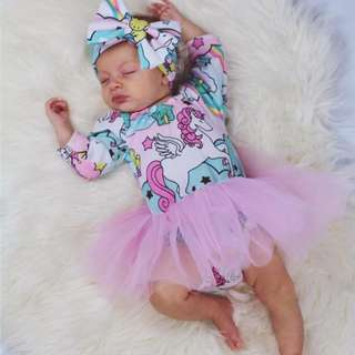 🚚 ✔️STOCK - PINK UNICORN MY MELODY STYLE NEWBORN BABY LONG SLEEVES ONESIE ROMPER WITH TULLE FLARE TODDLER GIRL KIDS CHILDREN CLOTHING