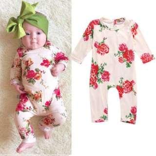 🚚 ✔️STOCK - PINK RED ROSE FLORAL NEWBORN BABY LONG SLEEVES JUMPER TODDLER GIRL ROMPER KIDS CHILDREN CLOTHING