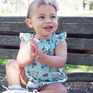 🚚 ✔️STOCK - MINT GREEN SWAN BABY ONESIE ROMPER TODDLER GIRL KIDS CHILDREN CLOTHING