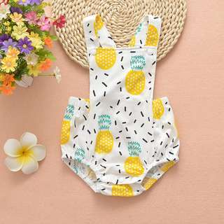 🚚 ✔️STOCK - SUMMER PINEAPPLE LEMON SEXY X BACK NEWBORN BABY ONESIE TODDLER BOY/GIRL ROMPER KIDS CHILDREN CLOTHING
