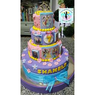 4-Layer Disney Princess Cake with Tiara Topper and Edible Printing on Wafer Paper