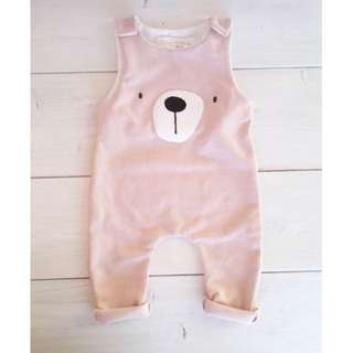 🚚 ✔️STOCK - CUTE PASTEL PINK BEAR NEWBORN BABY SLEEVELESS JUMPER ROMPER TODDLER GIRL KIDS CHILDREN CLOTHING