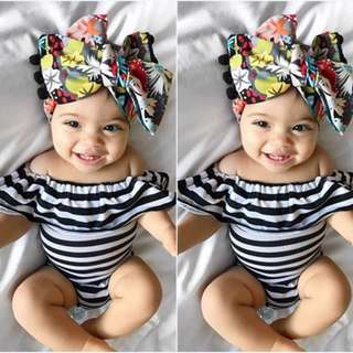 🚚 ✔️STOCK - BW STRIPE COLLAR FLARE NEWBORN BABY SHORT SLEEVES ONESIE ROMPER TODDLER GIRL KIDS CHILDREN CLOTHING