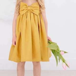 🚚 ✔️STOCK - SUMMER YELLOW BOW RIBBON FLARE NEWBORN BABY PARTY DRESS TODDLER GIRL KIDS CHILDREN CLOTHING