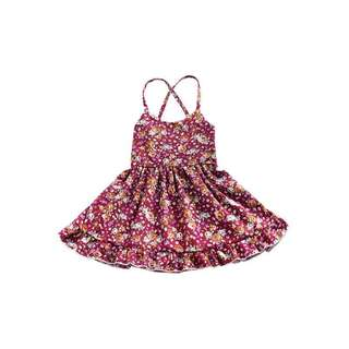 🚚 ✔️STOCK - MAROON RED FLORAL FLARE  BABY CASUAL PARTY DRESS TODDLER GIRL KIDS CHILDREN CLOTHING