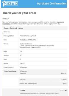 2 x Kendrick Lamar Tickets - Sydney - Wednesday 25th July