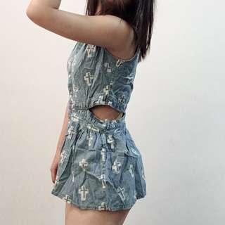 🚚 正韓顯瘦牛仔露腰腰簍空上衣背心洋裝#女裝半價拉
