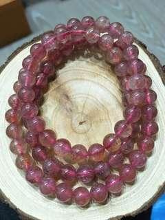 💝出清特價中~天然🍓草莓晶三圈手珠 約6-7mm (🉑️當項鍊)