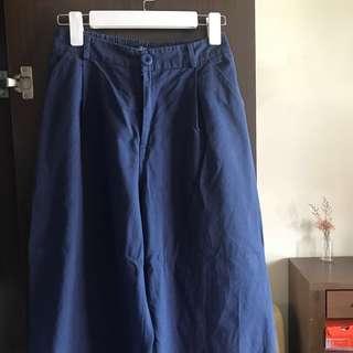 🚚 queenshop藍色寬褲 #女裝半價拉