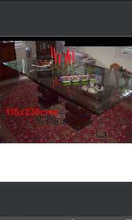 Elegant Dining Table, Antique-Wood-Base, Glass-Top, ONLY $1150!