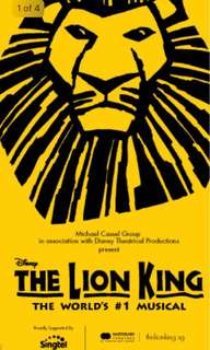 The Lion King Musical Ticket x1