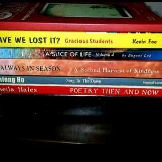 8 Books: Sing to the Dawn Minfong Ho Poetry Then & Now ALWAYS IN SEASON A Slice of Life HAVE WE LOST IT? Gracious Students The Pearl Clay Marble  #English life purpose driven Composition Mum Dad Psle primary secondary school )