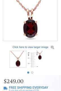 $250 worth Garnet pendant with 18 inch 10 karat gold necklace
