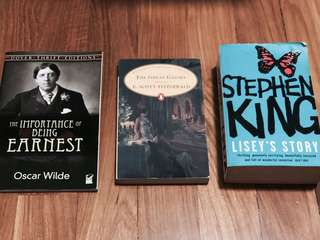 Books - Earnest, Great Gatsby, Lisey's Story
