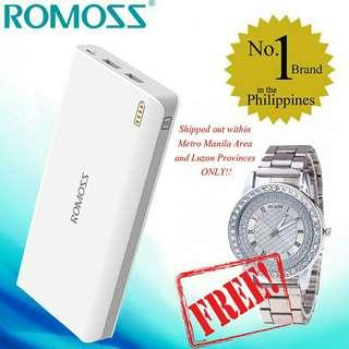 Original romoss sense4 10,400mAh+FREE WATCH