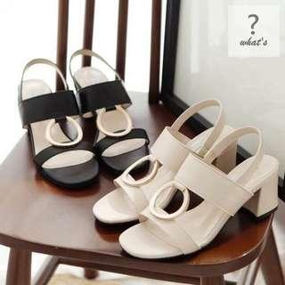 🚚 Korea 👡 時尚金屬圓圈粗跟涼鞋