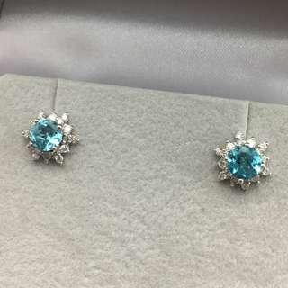 18K白金耳環 1卡25份磷灰石 38份鑽石  18K Withe gold Earrings 1.25ct Apatite 0.38t Diamond 可議價