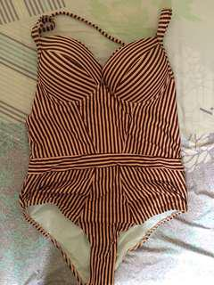 Red stripes swimsuit